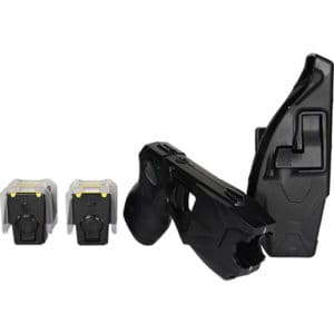 top side view x26p black taser with laser fully loaded with holdster