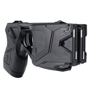 x2 taser with 2 live cartridges, holster, laser left view