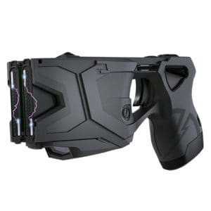 x2 taser with 2 live cartridges, holster, laser ront corner view