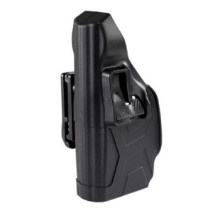 black left side view defender taser holdster