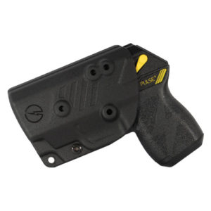 right side view of holstered taser