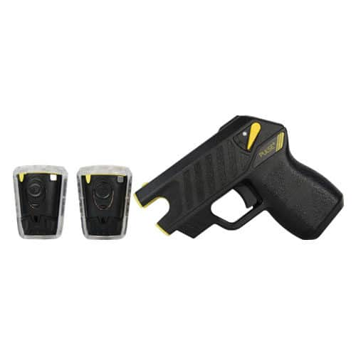 pulse plus taser with laser and 2 live cartridges side view