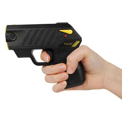 black taser pulse with laser in hand