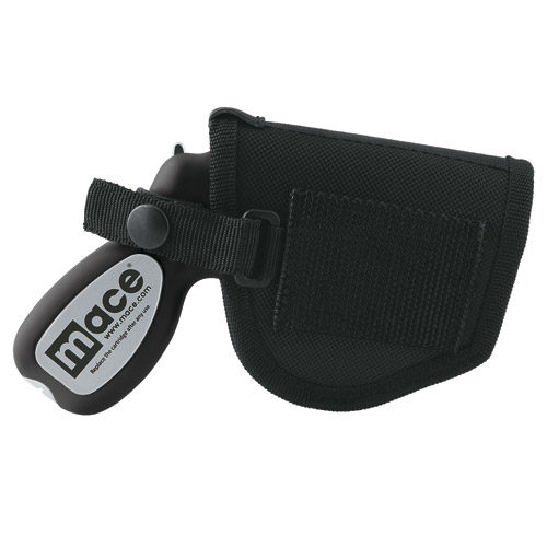 Side view of black holster with black mace gun