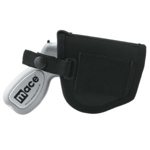 Side view of black holster with silver mace gun