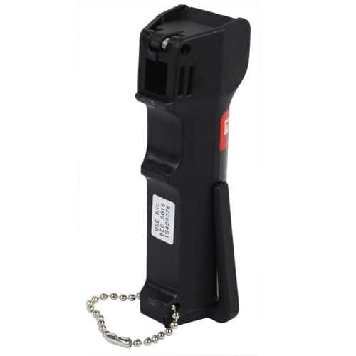 back view black pepper spray in holder with chain