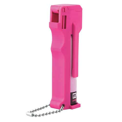 side view hot pink mace with 10% pepper spray