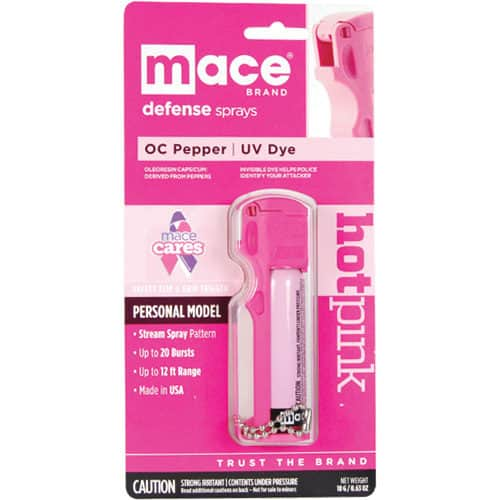 front view hot pink mace with 10% pepper spray in package