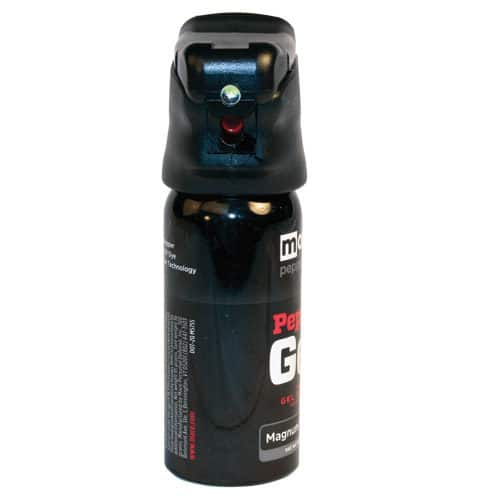 front view defender pepper spray gel with light