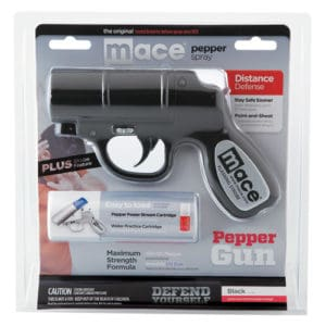 mace pepper spray gun with strobe in package