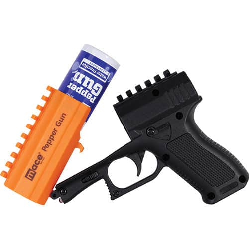 mace pepper spray gun with strobe open with side view