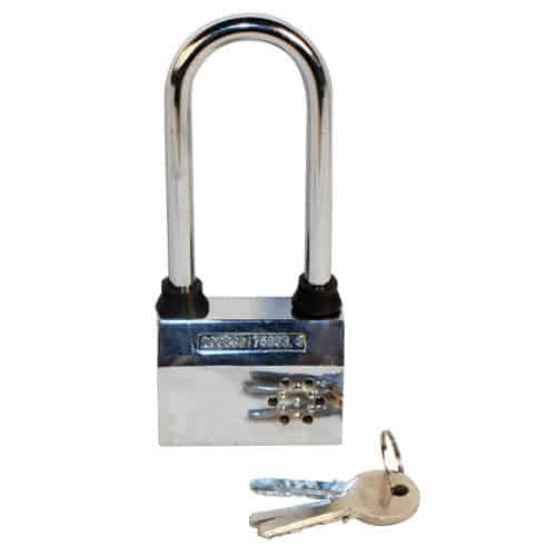home alarm padlock pictured with keys