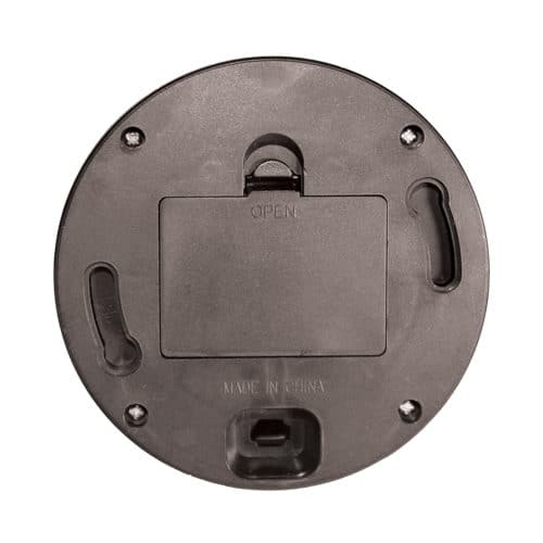 bottom view black dummy dome security camera showing battery compartment for flashing led light