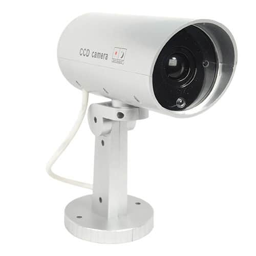 right facing white dummy security camber with motion activated led light