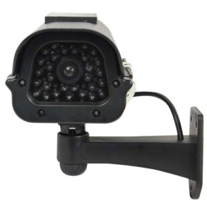 front facing black dummy security camera with solar powered led light
