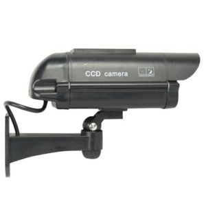 side view black dummy security camera with solar powered led light