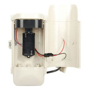 open battery compartment white dummy cam with led light