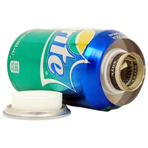 can of sprite diversion safe laying on side with top open