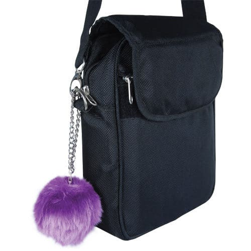 purple fur buzzer personal alarm with chain