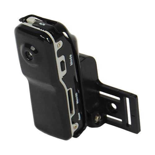 side view of mini hidden spy camera with DVR showing stand
