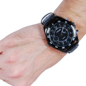 HD hidden cameral watch black on wrist