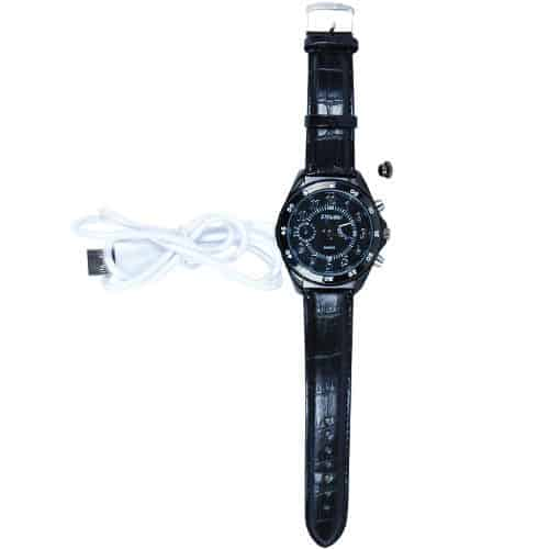 hole watch top view of HD hidden cameral watch black