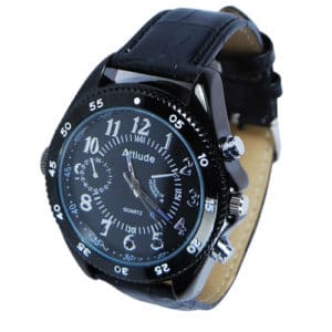 side angle view of HD hidden cameral watch black