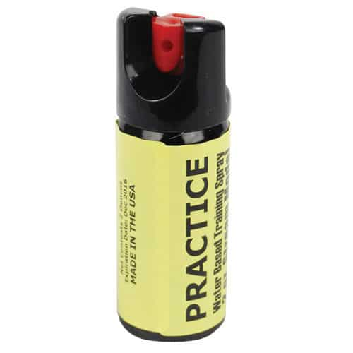 yellow inert fake pepper spray for practice front view