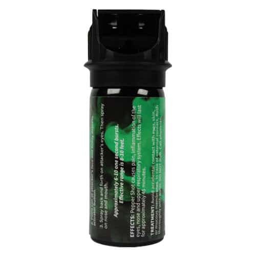 full rear view pepper shot 2 oz. pepper spray