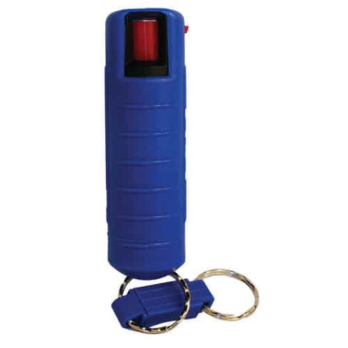 1/2 ox pepper shot pepper spray in hard case blue front vie with quick release