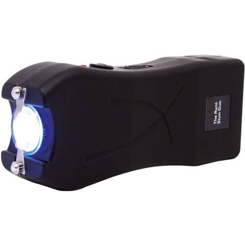black runt stun gun rechargeable with wrist strap disable pin side view