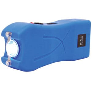 blue runt stun gun rechargeable with wrist strap disable pin side view