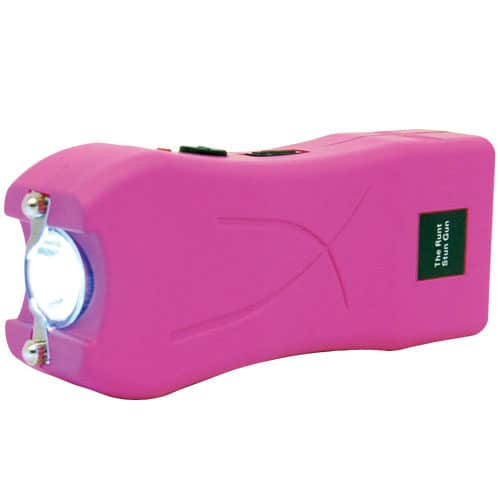 pink runt stun gun rechargeable with wrist strap disable pin side view