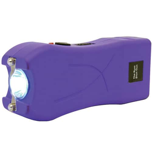 purple runt stun gun rechargeable with wrist strap disable pin side view