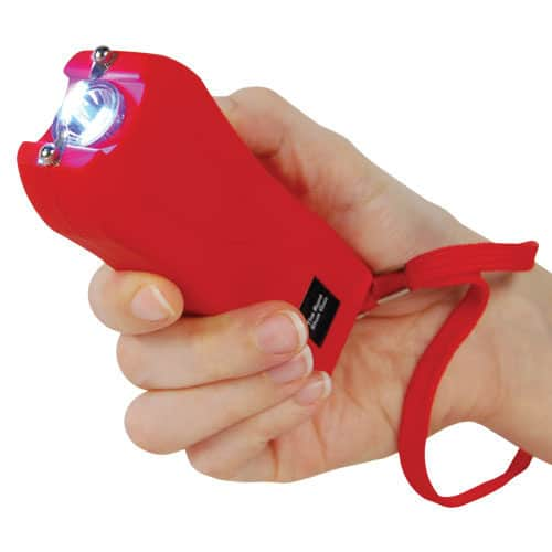 red runt stun gun rechargeable with wrist strap disable pin in hand