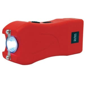 red runt stun gun rechargeable with wrist strap disable pin side view