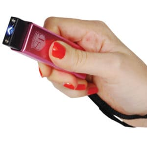 red led flashlight stun gun with usb rechargeable in hand