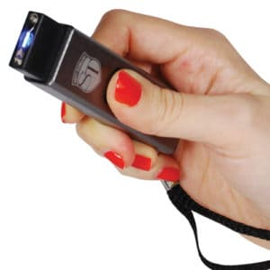 led flashlight stun gun with usb rechargeable in hand
