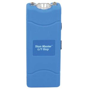 blue lil guy stun gun with flashlight front view