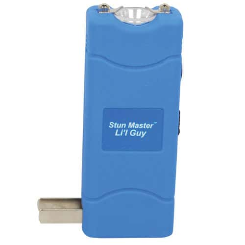 blue lil guy stun gun with flashlight side view with charging prongs showing