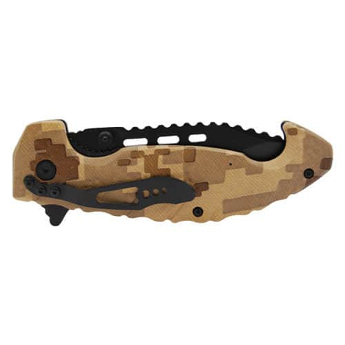 camo tactical pocket knife closed side view