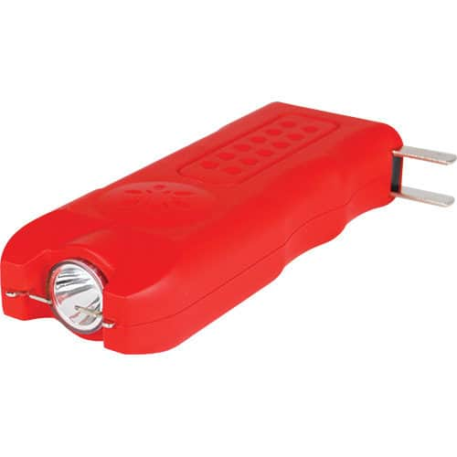 red rechargeable with alarm and flashlight multiguard stun gun side view
