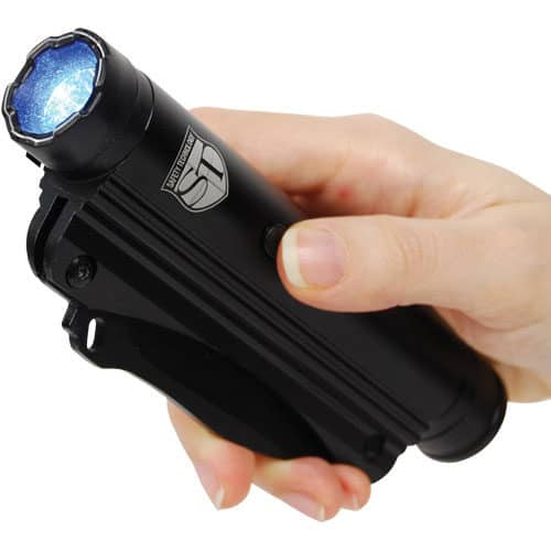 flashlight stun gun knife shown in hand
