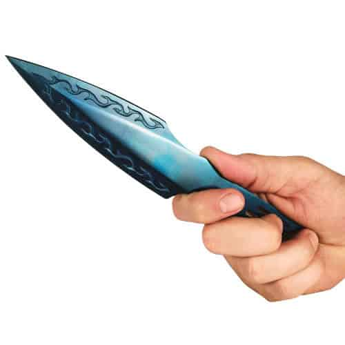 blue 2 stainless steel throwing knives plasma color in hand