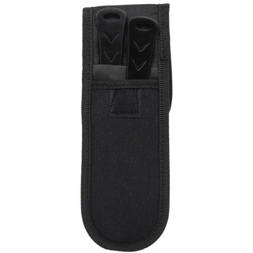 black 2 piece throwing knife set with black nylon carrying case rear view