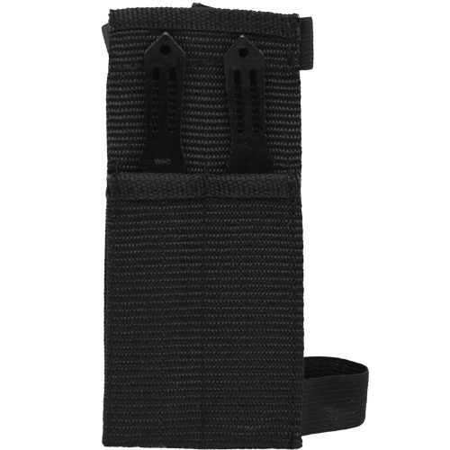 black 2 piece throwing knife set with black nylon carrying case front view