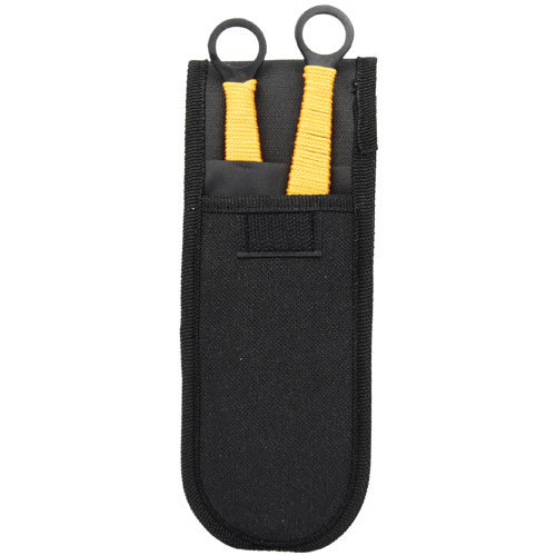 set of 2 throwing knives yellow in nylon holdster