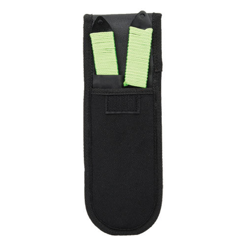 set of 2 throwing knives in black nylon holster