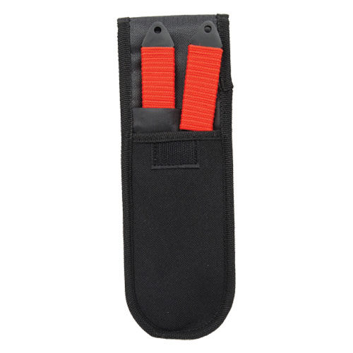 red 2 stainless steel throwing knives plasma color in holder