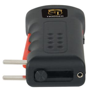 black trigger stun gun with flashlight side view with prongs showing